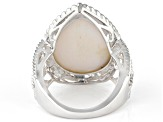 White Drusy Quartz Rhodium Over Sterling Silver Ring