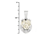 Silver Color Drusy Quartz Sterling Silver Pendant With Chain .04ctw