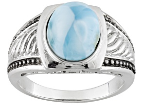Blue Larimar Two-Tone Sterling Silver Gents Ring