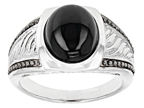 Black Spinel Two-Tone Sterling Silver Gents Ring 6.07ct