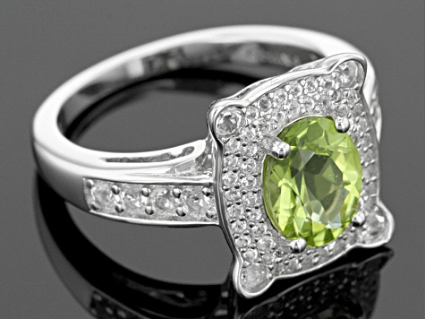 Green Peridot Sterling Silver Ring 2.27ctw