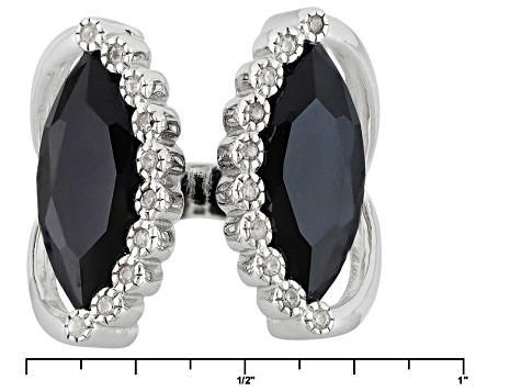 Black Spinel Sterling Silver Ring 7.35ctw
