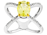 Yellow Apatite Sterling Silver Ring 1.79ctw