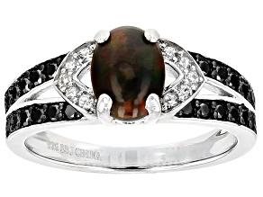 Black Ethiopian Opal Sterling Silver Ring .94ctw
