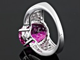 Pink Lab Created Sapphire, Garnet And White Zircon Sterling Silver Ring 7.62ctw