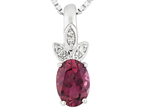 Pink Rubellite Sterling Silver Pendant With Chain .61ctw