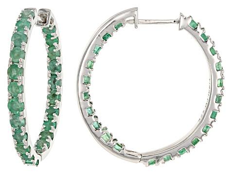 Green Zambian Emerald Sterling Silver Hoop Earrings 3 78ctw