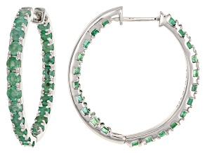 Green Zambian Emerald Rhodium Over Sterling Silver Hoop Earrings 3.78ctw