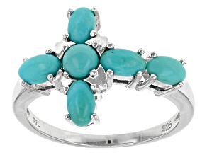 Blue Turquoise Sterling Silver Cross Ring