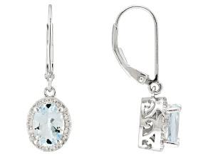 Blue Brazilian Aquamarine Sterling Silver Dangle Earrings 2.57ctw