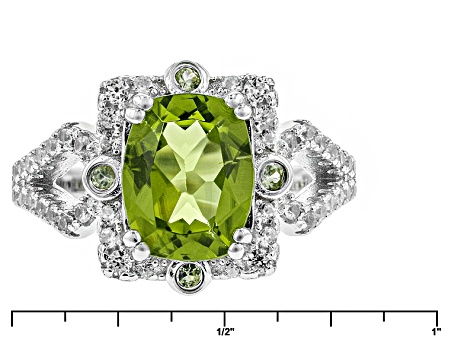 Green Peridot And White Zircon Sterling Silver Ring 3.47ctw
