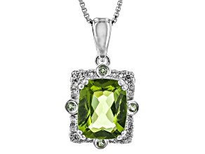 Green Peridot Sterling Silver Pendant With Chain 2.65ctw