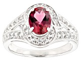 Red Lab Created Bixbite Sterling Silver Ring 1.58ctw