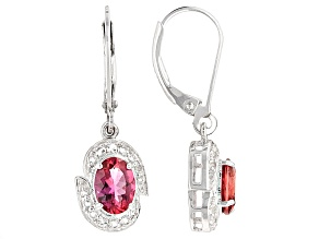 Red Lab Created Bixbite Sterling Silver Earrings 1.28ctw