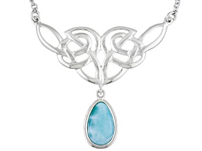 Blue Larimar Sterling Silver Solitaire Necklace