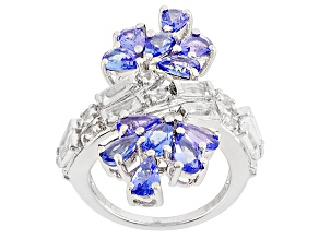Blue Tanzanite And White Topaz Sterling Silver Ring 3.53ctw