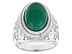 Green Onyx Sterling Silver Ring 1.17ctw