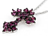 Raspberry Color Rhodolite Garnet Sterling Silver Cross Pendant With Chain 3.72ctw
