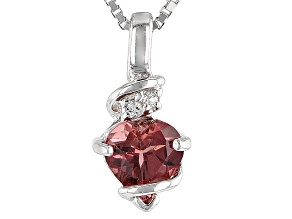 Pink Rubellite Tourmaline Sterling Silver Pendant With Chain .62ctw
