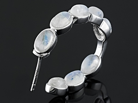 Multicolor Rainbow Moonstone Rhodium Over Sterling Silver J-Hoop Earrings 7.34ctw
