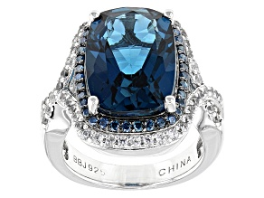 London Blue Topaz Sterling Silver Ring 7.70ctw