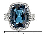 London Blue Topaz Sterling Silver Ring 7.70ctw