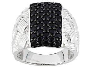 Black Spinel Sterling Silver Ring 1.62ctw