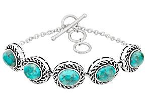 Blue Turquoise Sterling Silver Adjustable Bracelet