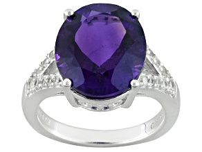Purple African Amethyst Sterling Silver Ring 5.55ctw