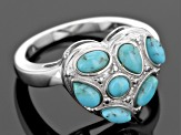 Blue Turquoise Sterling Silver Heart Ring