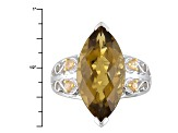 Brown Champagne Quartz Sterling Silver Ring 8.16ctw