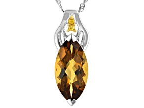 Brown Champagne Quartz Sterling Silver Pendant With Chain