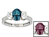 Lab Created Color Change Alexandrite And White Zircon Sterling Silver Ring 2.29ctw