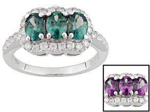 Lab Created Color Change Alexandrite Rhodium Over Sterling Silver Ring 1.90ctw
