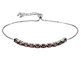 Blue Lab Created Color Change Alexandrite Silver Sliding Adjustable Bracelet 4.73ctw