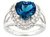 London Blue Topaz Sterling Silver Heart Shape Ring 4.77ctw