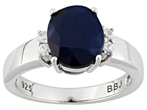 Blue Sapphire Rhodium Over Sterling Silver Ring 2.59ctw