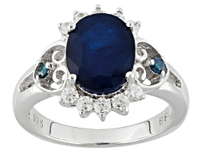 Blue Sapphire Sterling Silver Ring 2.95ctw