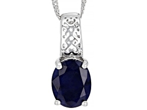 Blue Sapphire Rhodium Over Sterling Silver Solitaire Pendant With Chain 2.68ct