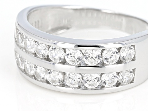 White Zircon Rhodium Over Sterling Silver Band Ring 1.53ctw