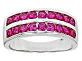 Red Lab Created Ruby Rhodium Over Sterling Silver Ring 1.30ctw