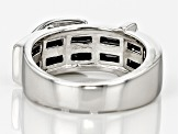 Black Spinel Sterling Silver Buckle Ring 2.24ctw