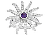Lab Created Color Change Alexandrite Sterling Silver Ring 1.24ctw