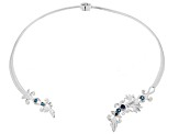 London Blue Topaz Sterling Silver Collar Necklace 1.10ctw