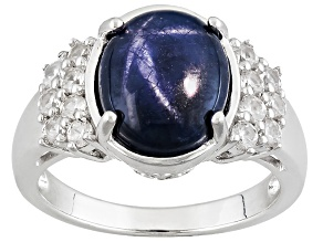 Blue Star Sapphire Sterling Silver Ring 5.31ctw