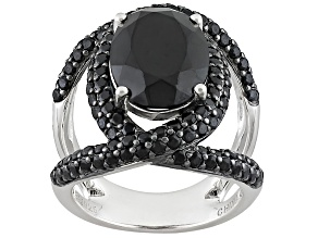 Black Spinel Sterling Silver Ring 7.31ctw