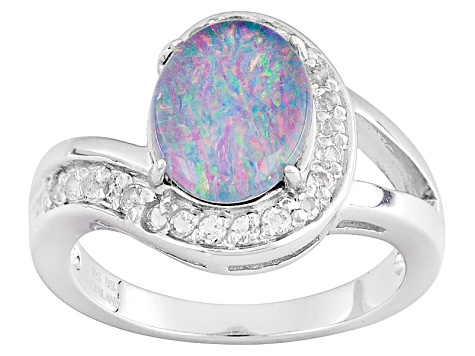 Multicolor Opal Triplet Sterling Silver Ring