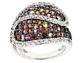 Multi-Garnet Sterling Silver Ring 3.51ctw