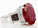 Red Lab Created Ruby Sterling Silver Ring 9.16ctw