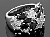 Black Spinel Sterling Silver Ring 4.51ctw